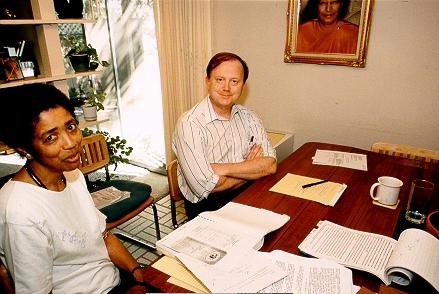 "Nayaswami Naidhruva and Ananda's attorney Jon Parsons during the ""War Years"" of SRF's litigation against Ananda."