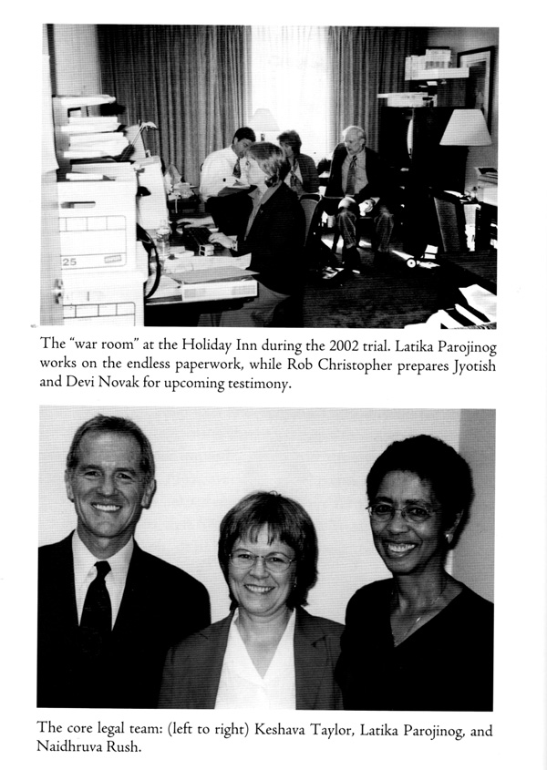 """The """"war room"""" at the Holiday Inn during the 2002 trial. Latika Parojinog works on the endless paperwork, while Rob Christopher prepares Jyotish and Devi Novak for upcoming testimony."""